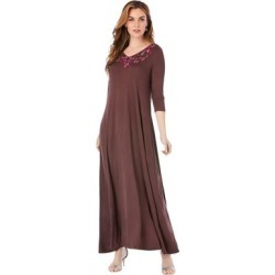 Plus Size Women's Embroidered Maxi Dress by Roaman's in Chocolate Rosebud Embroidery (Size 14/16) found on Bargain Bro Philippines from fullbeauty for $59.99