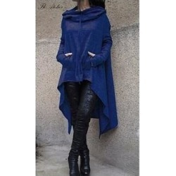 Autumn And Winter Long Hooded Sweater (Blue - XL), Women's found on Bargain Bro India from Overstock for $42.77
