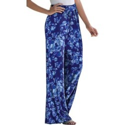 Plus Size Women's Everyday Knit Palazzo Pant by Jessica London in Navy Floral Print (Size 18/20) found on Bargain Bro Philippines from Ellos for $34.99