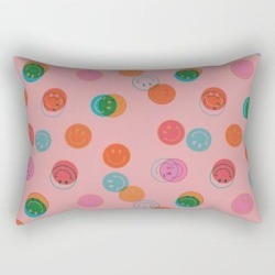 "Smiley Face Stamp Print In Pink Rectangular Pillow by Doodle By Meg - Small (17"" x 12"")"