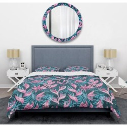 Designart 'Handdrawn Tropical Flowers' Mid-Century Duvet Cover Set (Twin Cover + 1 sham (comforter not included)), Blue, DESIGN ART found on Bargain Bro India from Overstock for $101.99