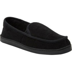 Wide Width Cotton Corduroy Slippers by KingSize in Black (Size 12 W) found on Bargain Bro Philippines from Brylane Home for $24.99