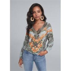 Mixed Print V-Neck Top Tops - Blue/Multi found on Bargain Bro from Venus.com for USD $29.64