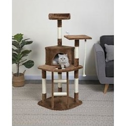 Go Pet Club 49-in Economical Sisal Posts Cat Tree Condo, Brown found on Bargain Bro from Chewy.com for USD $45.59