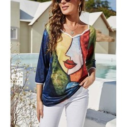 Camisa Women's Tee Shirts Navy - Navy Abstract Face Scallop-Trim Three-Quarter Sleeve Top - Women found on Bargain Bro from zulily.com for USD $15.19