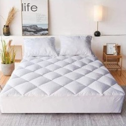 Kasentex Fitted Mattress Pad Deep Pocket Cotton Front - White (Full) found on Bargain Bro from Overstock for USD $47.87