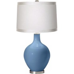 Secure Blue White Drum Shade Ovo Table Lamp found on Bargain Bro from LAMPS PLUS for USD $113.98