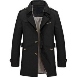 petite Men's Solid Lapel Washed Single Breasted Short Trench Coat (Black - M)(cotton) found on Bargain Bro Philippines from Overstock for $52.90