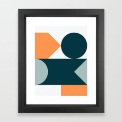 Framed Art Print | Mid Century Modern Geometric 21 by The Old Art Studio - Vector Black - X-Small-10x12 - Society6 found on Bargain Bro India from Society6 for $37.59