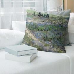 Porch & Den Vincent Van Gogh 'Bluhender Garten mit Pfad' Throw Pillow (20 x 20 - Blue - Linen) found on Bargain Bro from Overstock for USD $46.85