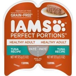 Iams Perfect Portions Healthy Adult Tuna Recipe Pate Grain-Free Cat Food Trays, 2.6-oz, case of 24 twin-packs