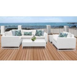Miami 7 Piece Outdoor Wicker Patio Furniture Set 07h in Sail White - TK Classics Miami-07H-White