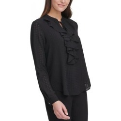 Tommy Hilfiger Womens Blouse Textured V-Neck - Black found on Bargain Bro from Overstock for USD $25.87