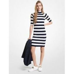 Michael Kors Striped Stretch Viscose Turtleneck Dress Blue XS found on MODAPINS from Michael Kors for USD $92.81