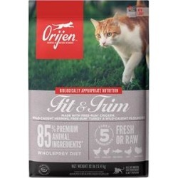 ORIJEN Fit & Trim Grain-Free Dry Cat Food, 12-lb bag found on Bargain Bro India from Chewy.com for $69.99