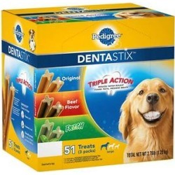 Pedigree Dentastix Original Beef Flavored & Fresh Variety Pack Mint Flavored Large Dental Dog Treats, 51 count