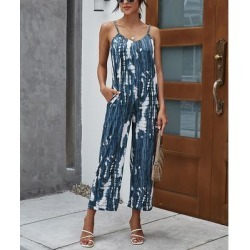 Camisa Women's Jumpsuits Navy - Navy & White Tie-Dye Sleeveless Pocket Jumpsuit - Women found on Bargain Bro from zulily.com for USD $12.91