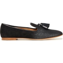Dalila Tasseled Glittered Suede Loafers - Black - Giuseppe Zanotti Flats found on Bargain Bro Philippines from lyst.com for $328.00