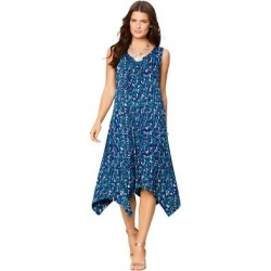 Plus Size Women's Sleeveless Swing Dress by Roaman's in Navy Abstract Dots (Size 22/24) found on Bargain Bro Philippines from fullbeauty for $49.99