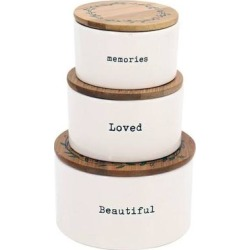 Dennis East 11739 - Stacking Sentiment Canisters Size: Set of 3 Home Organization found on Bargain Bro Philippines from eLightBulbs for $33.29