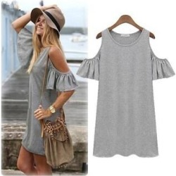 Women New Puff Flouncing Strapless Dress Big Size Knit Dress (Grey - S), Women's, Gray found on Bargain Bro from Overstock for USD $24.49