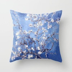 Throw Pillow   Vincent Van Gogh Almond Blossoms Blue by Purevintagelove - Cover (16