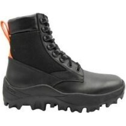 MCM Women's Black Leather Reflective Patch With Orange Pull Boots MES9ARA81BK (39 EU / 9 US) - 39 EU / 9 US (Medium - Black - 39 EU / 9 US) found on MODAPINS from Overstock for USD $325.00