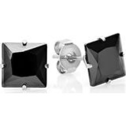 Steel Time Men's Earrings BLACK - Black Onyx & Stainless Steel Square Stud Earrings found on Bargain Bro India from zulily.com for $9.99