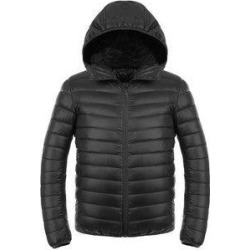 petite Light Thin Short Down Coat Man Hooded Fashionable Black S (XXL), Men's found on Bargain Bro from Overstock for USD $45.12