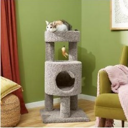 Frisco 36-in Real Carpet Wooden Cat Tree, Gray