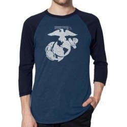 Los Angeles Pop Art Men's Raglan Baseball Word Art T-shirt - LYRICS TO THE MARINES HYMN (denim / navy - s), Blue found on Bargain Bro India from Overstock for $23.84
