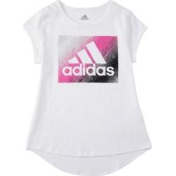 adidas Girls' Tee Shirts WHITE - White & Pink Metallic Logo Tee - Girls found on Bargain Bro Philippines from zulily.com for $12.99