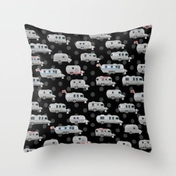 Throw Pillow   Tin Can Travel Trailers On Black by Sara Mordecai - Cover (16