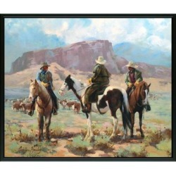 Easy Art Prints Carolyne Hawley's 'Three Cowboys' Premium Canvas Art found on Bargain Bro Philippines from Overstock for $63.78