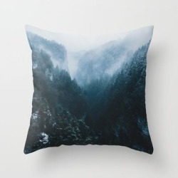 Foggy Forest Mountain Valley - Landscape Photography Couch Throw Pillow by Michael Schauer - Cover (16