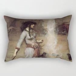Rectangular Pillow   The Magic Circle, John William Waterhouse by Historia Fine Art Gallery - Small (17