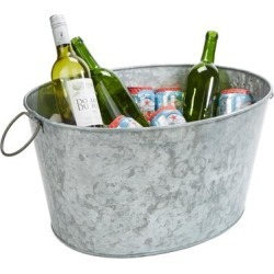 Mind Reader Heavy Duty Oval Galvanized Iron Ice Bucket Beverage Chiller Tub, Silver found on Bargain Bro from Overstock for USD $22.79