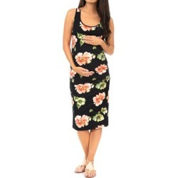 Mother Bee Maternity Women's Casual Dresses Tropical - Black Floral Ruched Maternity Midi Dress found on Bargain Bro Philippines from zulily.com for $9.99