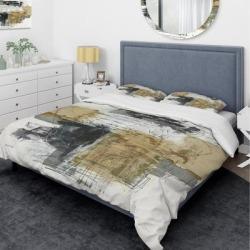 Designart 'Glam Cream Dream II' Glam Bedding Set - Duvet Cover & Shams (Full/Queen Cover +2 Shams (comforter not included)), Black, DESIGN ART found on Bargain Bro India from Overstock for $132.99