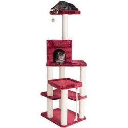 Armarkat 69-in Faux Fur Covered House& Cat Tree, Burgundy found on Bargain Bro Philippines from Chewy.com for $129.99