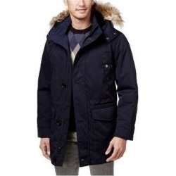 Ryan Seacrest Mens Luxe Twill Faux-Fur Parka Coat, Blue, Small (Blue - Small), Men's found on MODAPINS from Overstock for USD $232.88