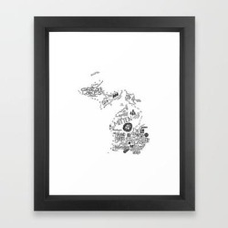 Michigan - Hand Lettered Map Framed Art Print by Type By Hand - Vector Black - X-Small-10x12