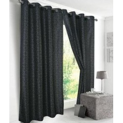 Diamond Metallic Faux Silk Single Grommet Curtain Panel - (1x) 54 x 90 in. (Black), RT Designer Collection(Polyester, Geometric) found on Bargain Bro from Overstock for USD $28.11