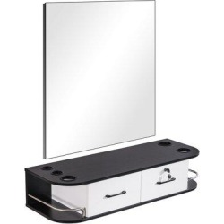 MCombo Locking Wall Mount Barber Station W/Mirror Salon Furniture 5012-MirrorWood/Metal in White/Black, Size 47.9 H x 41.4 W x 14.9 D in | Wayfair found on Bargain Bro Philippines from Wayfair for $229.99