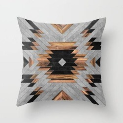 Urban Tribal Pattern No.6 - Aztec - Concrete And Wood Couch Throw Pillow by Zoltan Ratko - Cover (16