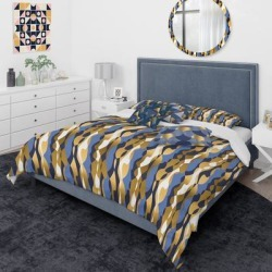 Designart 'Retro Luxury Waves In Gold And Blue I' Mid-Century Modern Duvet Cover Comforter Set found on Bargain Bro from Overstock for USD $184.29