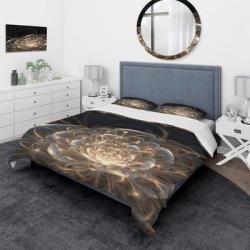 Designart 'Fractal Flower with Golden Rays' Traditional Bedding Set - Duvet Cover & Shams (Full/Queen Cover +2 Shams (comforter not included)), DESIGN found on Bargain Bro from Overstock for USD $88.57