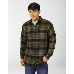 Dickies Men's Flex Long Sleeve Flannel Shirt - Military Green Black Plaid Size S (WL650) found on Bargain Bro India from Dickies.com for $29.99