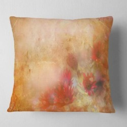 Designart 'Red and Pink Flowers on Brown' Floral Throw Pillow found on Bargain Bro from Overstock for USD $26.59