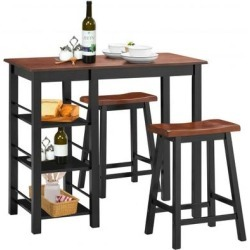 Costway 3 Piece Counter Height Dining Table Set with 2 Saddle Stools and Storage Shelves found on Bargain Bro from Costway for USD $129.16